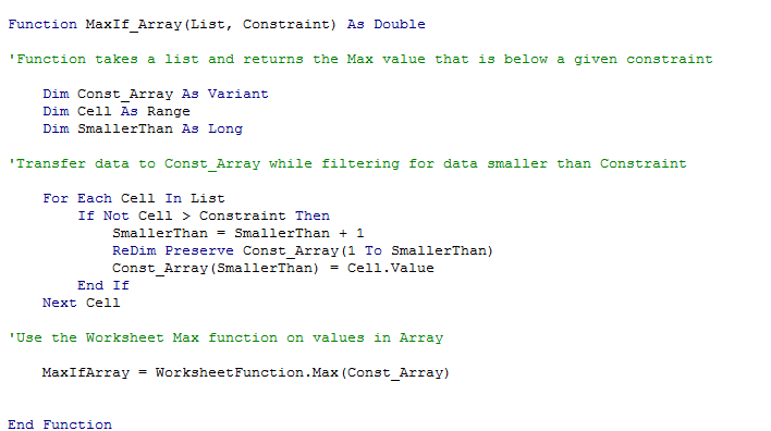 Trying to code an Array Function in VBA Excel to works as a MaxIF ...